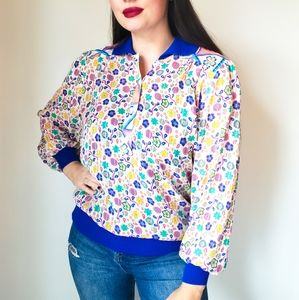 Vintage | 70s Floral Printed Retro Small Blouse